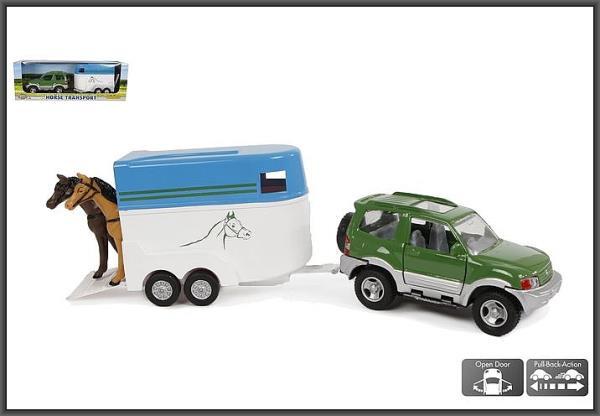 Auto + przyczepa z dwoma końmi 35cm