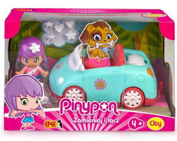 EP Pinypon CITY – pojazd z laleczką 7cm i akcesoriami Samochód turkusowy 16611