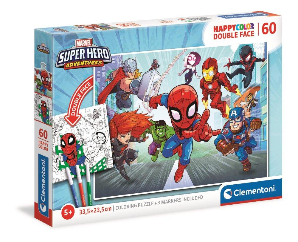 Clementoni Puzzle 60el Double Face Super Hero Marvel 26098