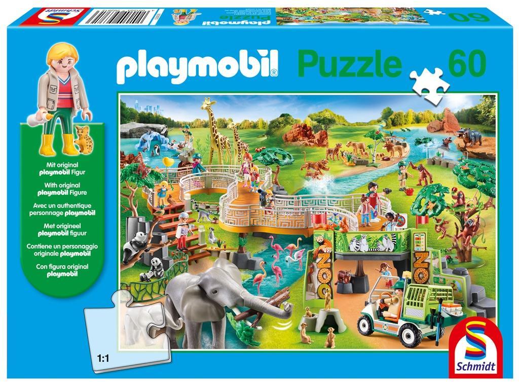 Puzzle 60 Playmobil Zoo + figurka