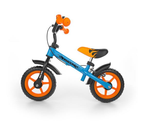 Rowerek biegowy Dragon z hamulcem niebiesko-pomarańczowy. MILLY MALLY