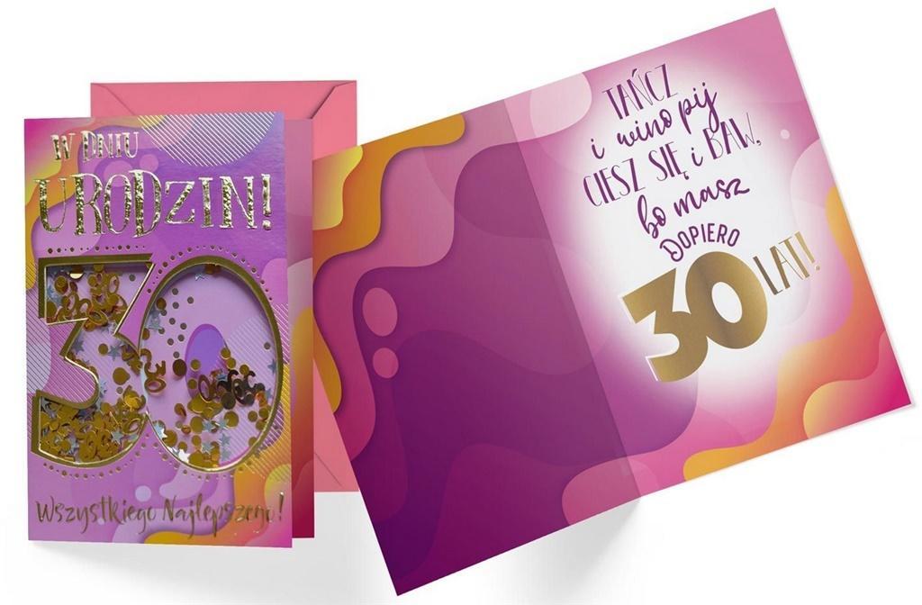 Karnet B6 konfetti KNF-034 Urodziny 30 damskie