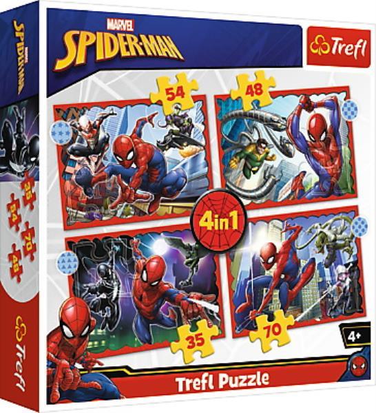 Puzzle 4w1 Bohaterski Spider-Man / Disney Marvel Spiderman 34384 Trefl