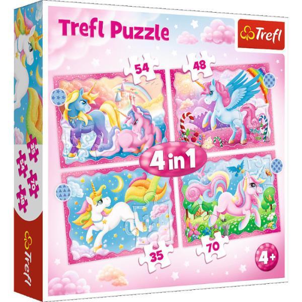 Puzzle 4w1 Jednorożce i magia 34389 Trefl