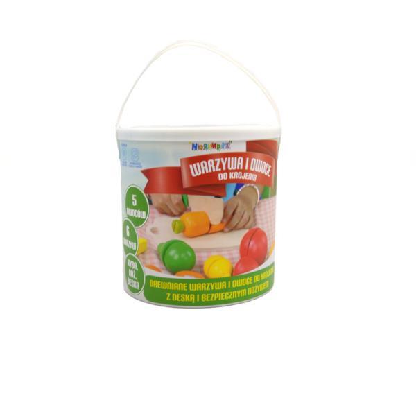 PROMO Drewniane warzywa/owoce do krojenia wiaderko