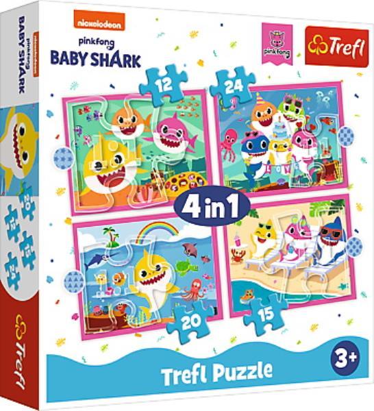 Puzzle 4w1 12,15,20,24el Rodzina Rekinów Baby Shark 34378 Trefl p8