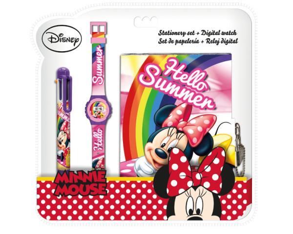 Zestaw piśmienniczy z zegarkiem cyfrowym, długopisem i pamiętnikiem Minnie WD20418 Kids Euroswan
